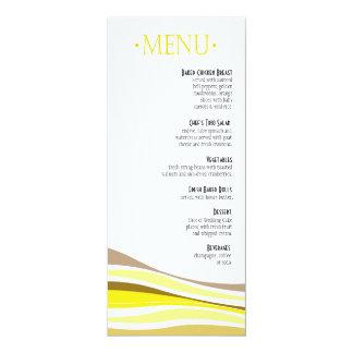 Linhas Curvy amarelo do menu do comensal Convite Personalizado