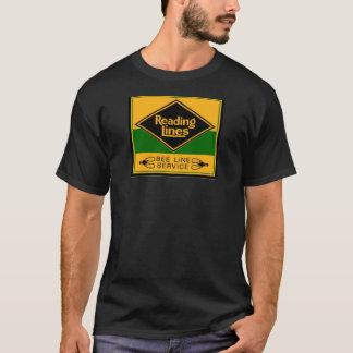 Linhas de estrada de ferro da leitura, linha preto tshirt