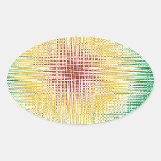 Linhas do Bullseye de Rasta Adesivos Oval