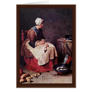 Líquido de limpeza do nabo por Chardin Cartão Comemorativo