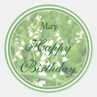 Lírio branco de maio do aniversário do vale adesivo