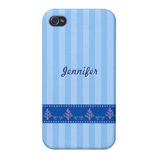 Listra azul com coração do amor na fita costurada  iPhone 4 capas