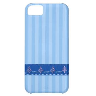 Listra azul com coração do amor na fita costurada  capa iphone5C