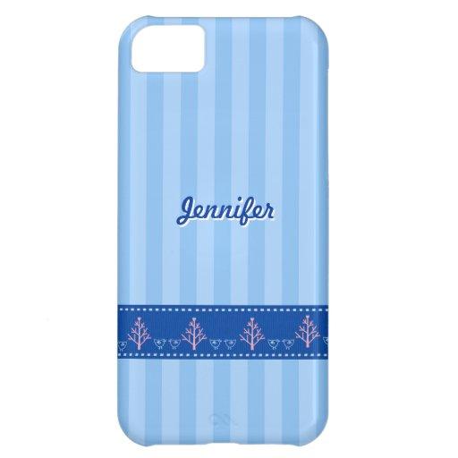 Listra azul com coração do amor na fita costurada  capa para iPhone 5C