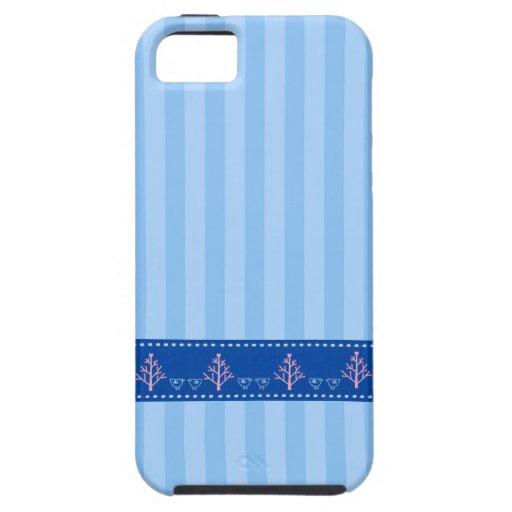 Listra azul com coração do amor na fita costurada  capa iPhone 5 Case-Mate
