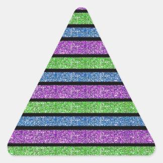 Listra azul/do roxo/verde brilho adesivo triangular