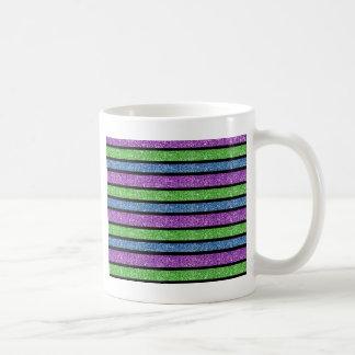 Listra azul/do roxo/verde brilho caneca de café