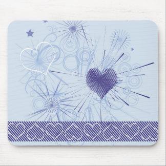 Listra azul dos corações do amor abstrato & mouse pad
