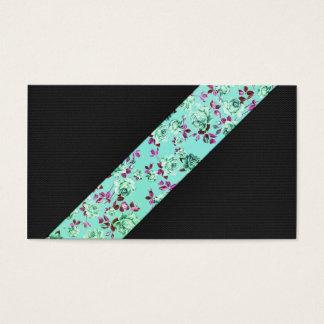 Listra floral do Aqua na moda moderno feminino do Cartão De Visitas