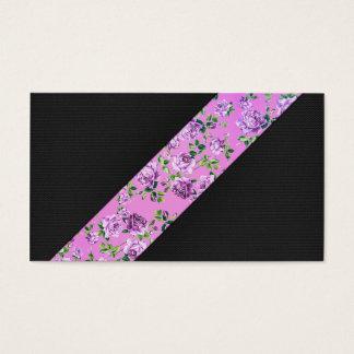 Listra floral do rosa na moda moderno feminino do cartão de visitas