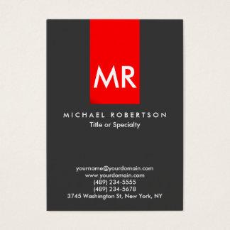 Listra vermelha cinzenta do monograma exclusivo cartão de visitas