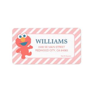 Listrado cor-de-rosa de Elmo do bebê do Sesame Etiqueta De Endereço