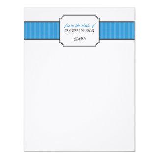Listras azuis clássicas da mesa dos artigos de convite 10.79 x 13.97cm