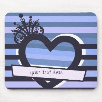listras azuis com mousepad do coração