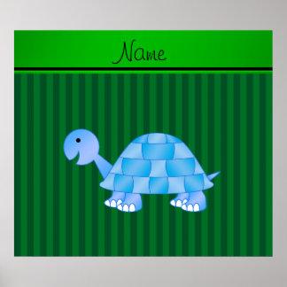 Listras azuis conhecidas personalizadas do verde posters