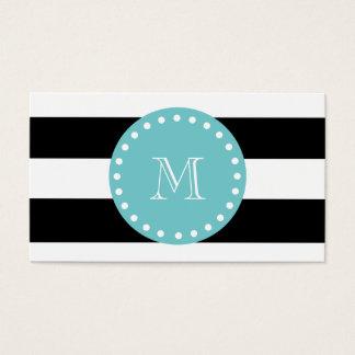 Listras brancas pretas teste padrão, monograma da cartão de visitas