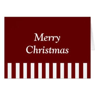 """Listras carmesins do vermelho do """"Feliz Natal"""" Cartão Comemorativo"""