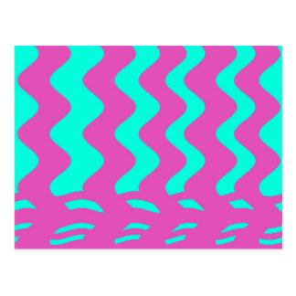 listras cor-de-rosa de turquesa cartão postal