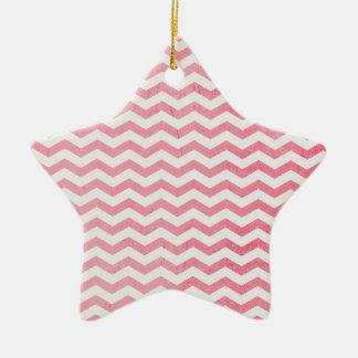 Listras cor-de-rosa e brancas desvanecidas de ornamento de cerâmica estrela