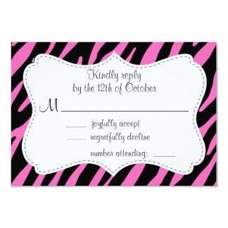 Listras cor-de-rosa & pretas da zebra; Impressão Convite Personalizados