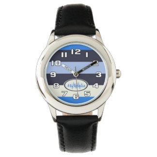 Listras de azuis legal do monograma contemporâneo relógios