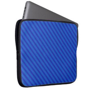 Listras de azuis marinhos diagonais bolsa e capa de notebook