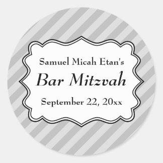 Listras diagonais no bar cinzento Mitzvah Adesivos Redondos