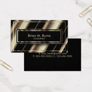 Listras diagonais pretas e ouro claro metálico cartão de visitas