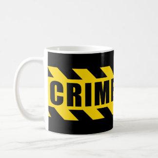 Listras do amarelo do preto da fita do perigo da caneca de café