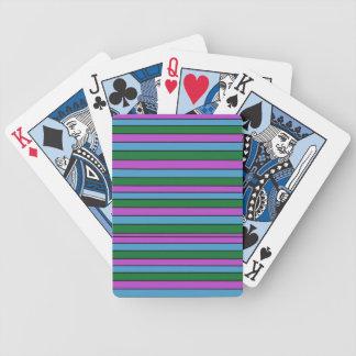 Listras do roxo do verde azul baralhos de carta