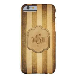 Listras e etiqueta elegantes do ouro com monograma capa barely there para iPhone 6