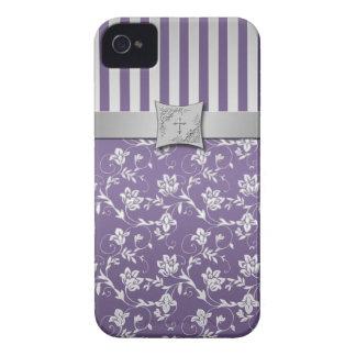 Listras florais roxas e de prata cristãs capas para iPhone 4 Case-Mate
