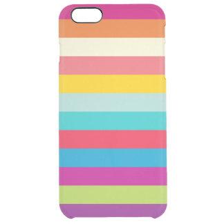 Listras horizontais em cores do verão capa para iPhone 6 plus clear