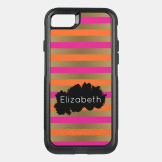 Listras metálicas do rosa, da laranja & do ouro do capa iPhone 7 commuter OtterBox