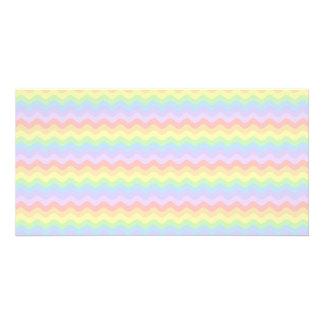Listras Pastel onduladas do arco-íris Cartao Com Fotos