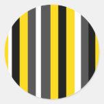 Listras pretas amarelas modernas das cinzas e do adesivo redondo