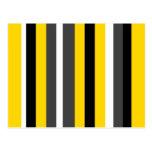 Listras pretas amarelas modernas das cinzas e do b cartoes postais