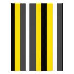 Listras pretas amarelas modernas das cinzas e do b papeis de carta personalizados