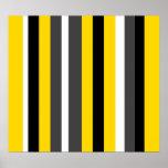 Listras pretas amarelas modernas das cinzas e do b posteres