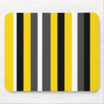 Listras pretas amarelas modernas das cinzas e do b mousepads