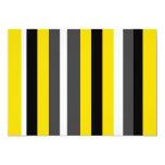 Listras pretas amarelas modernas das cinzas e do convite 12.7 x 17.78cm