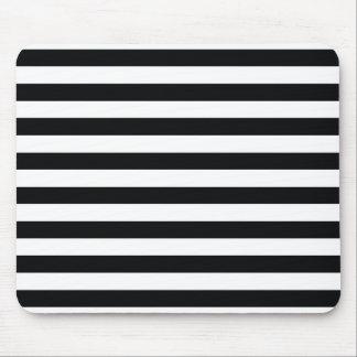 Listras pretas & brancas chiques mouse pad