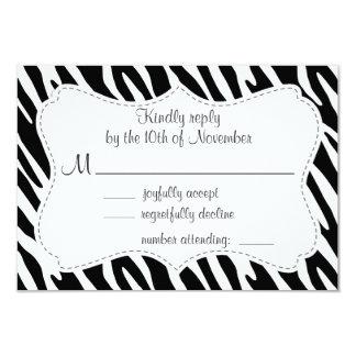 Listras pretas & brancas da zebra convite personalizados