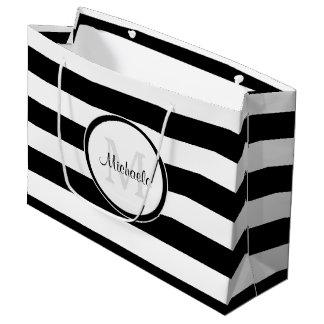 Listras preto e branco contínuas espertas com sacola para presentes grande