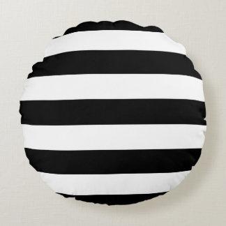 Listras preto e branco do estilo moderno almofada redonda