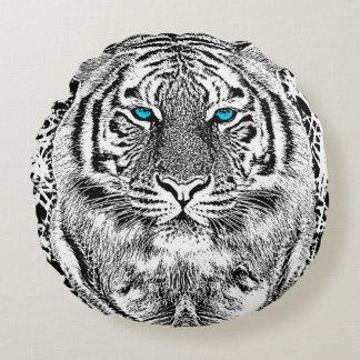 Listras preto e branco do tigre dos olhos azuis almofada redonda
