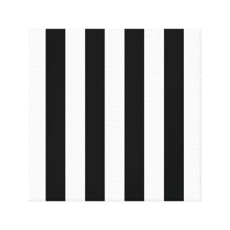 Listras preto e branco impressão de canvas envolvida