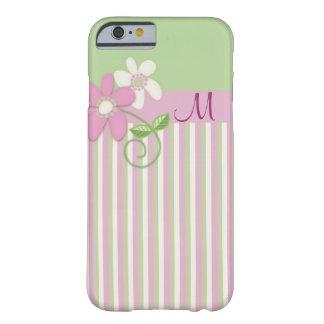 Listras retros, flores & de iPhone 6 do monograma Capa Barely There Para iPhone 6