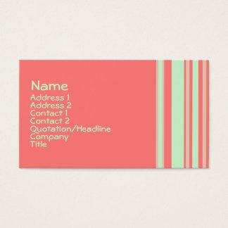 listras verdes alaranjadas retros cartão de visitas