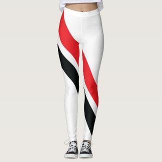Listras vermelhas/pretas nas caneleiras brancas 1 legging